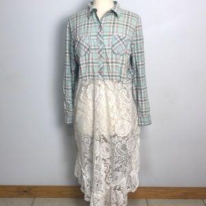 Cute custom vintage flannel lace bustle top jacket